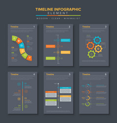 timeline infographic set template simple flat vector image
