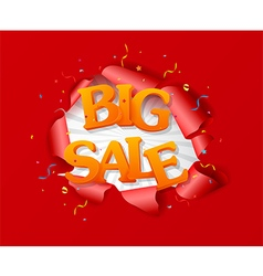 Torn paper with big sale and best offer design vector image