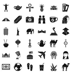 Travel icons set simple style vector
