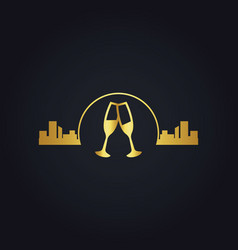 Urban glass wine city night gold logo vector