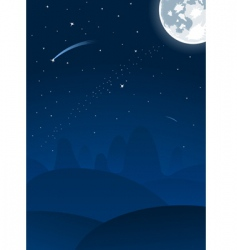 Vector night landscape with moon vector