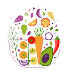 Vegan salad bowl recipe for organic dinner vector