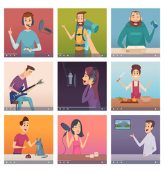 web bloggers influencers entertainment persons vector image