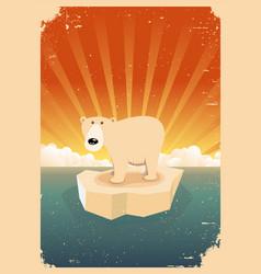 white polar bear vintage grunge poster vector image
