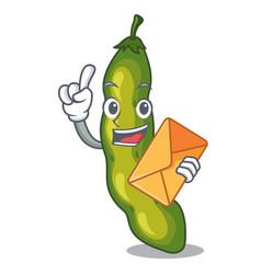 With envelope vegetables pod green bean in cartoon vector