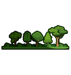 cartoon forest tree bushes natural image shadow vector image