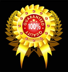 golden quality badge with ribbon vector image vector image