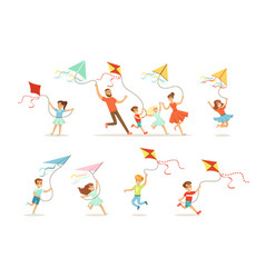 kids and their parents running with kite happy and vector image vector image
