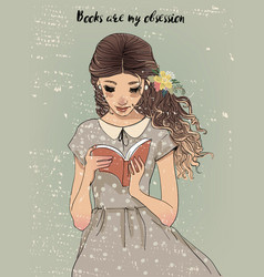 portrait of a young woman with book vector image vector image