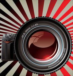 professional camera - retro background vector image