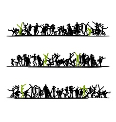 Sketch of people crowd for your design vector image vector image