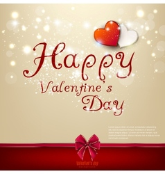 Valentines day background with bow and hearts vector image vector image