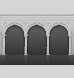 Classic roman antique interior with stone arches vector