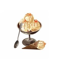 Delicious Ice Cream in a bowl dessert vector image vector image