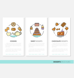 desserts and sweets food business brochures vector image