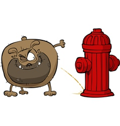dog pees on hydrant vector image vector image