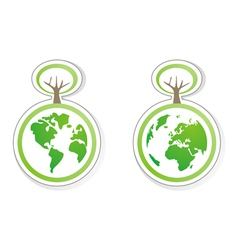 ecology icons with planet earth both globe vector image