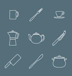 flat white outline dinnerwarwe icons set vector image vector image