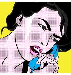 Girl with phone POP ART vector image vector image