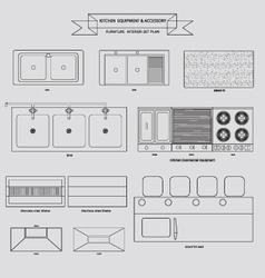 Kitchenvabinet furniture outline icon vector image