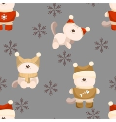 Seamless background of cat in clothes vector