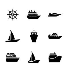 Set Icons ships vector image
