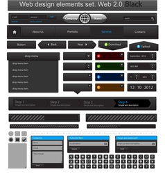 web design elements set black vector image vector image
