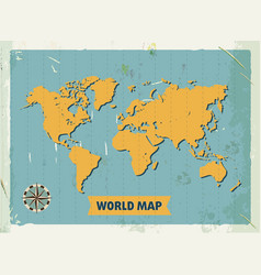 grunge retro metal sign with world map vintage vector image vector image