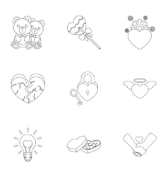 Romantic set icons in outline style Big vector image vector image