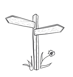 The pointer of the road Wooden post with arrows on vector image