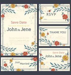 wedding invitation design set save the date rsvp vector image
