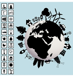 Ecological concept with Earth and environment vector image vector image
