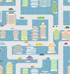 Winter city seamless pattern Metropolis with vector image vector image