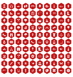100 spring icons hexagon red vector
