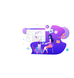 a woman working on marketing statistic flat vector image