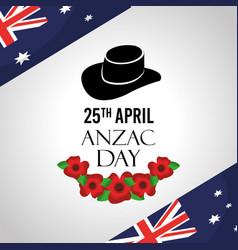 Anzac day celebration card flags australian hat vector