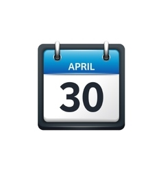 April 30 Calendar icon flat vector image vector image