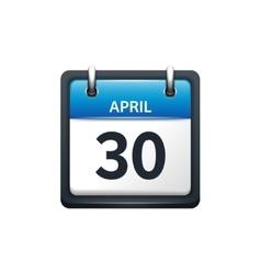 April 30 Calendar icon flat vector