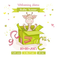 Baby giraffe in a box baby shower or arrival card vector