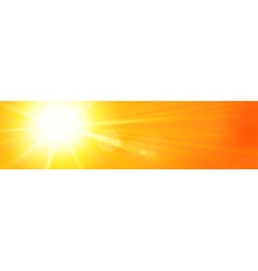 Banner panorama hot sun sky orange yellow vector image