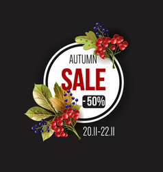 banner sale with autumn yellow leaves vector image