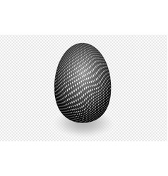 Black speckled egg on white with shadow on a vector