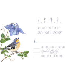 Blue flower bird rsvp card vector