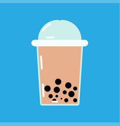 bubble or pearl milk tea or boba flat color icon vector image