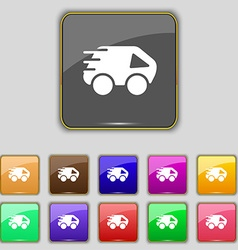 Car Icon sign Set with eleven colored buttons for vector