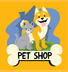 cartoon cat and dog for petshop business vector image