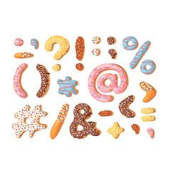 Cartoon donut hand drawn font vector