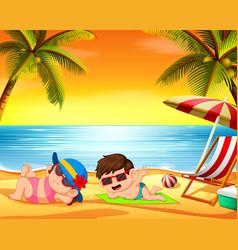 Children relax in the beach vector