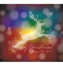 Christmas card with stylized white deer with vector