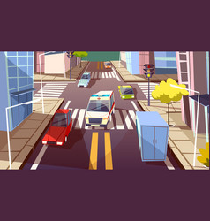 city street cars cartoon of vector image